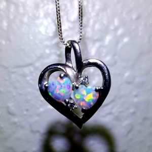 Heart-Shaped Lab-Created Opal and Diamond Accent